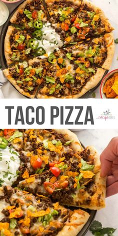 This Taco Pizza is made with a homemade pizza crust, topped with refried beans, salsa, taco-seasoned ground beef, cheese and all your favorite taco toppings! #taco #pizza #dinner #recipes | easy dinner ideas | dinner recipes | ground beef recipes | pizza recipes | taco tuesday | taco meat Beef Pizza, Taco Pizza Recipes, Mexican Food Recipes, Beef Recipes, Pot Pasta, Delicious Dinner Recipes, Refried Beans, Taco Tuesday, Ground Beef