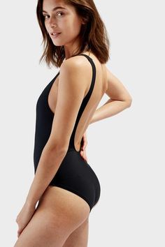 The Anne-Marie One-Piece in Black – Solid & Striped
