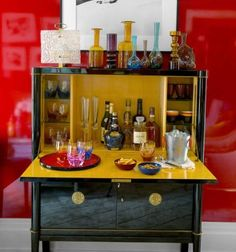 Small bar ideas like 10 items that can be a bar when you need one. See how furniture can be used as a liquid cabinet or wet bar when you don't have extra room in your home for a bar. For more small space entertaining ideas go to Domino. Mini Bars, Drinks Cabinet, Liquor Cabinet, Small Bar Cabinet, Black Cabinet, Cabinet Storage, Bar Vintage, Vintage Cabinet, Antique Bar
