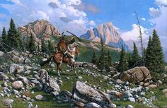 The Trophy by Richard Luce ~ Native American on horseback in mountains