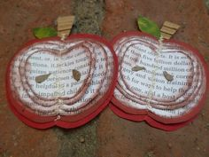 Apple craft made from old book pages.