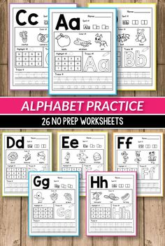 Alphabet printable activities for preschool and kindergarten. These pack of worksheets will make teaching and practice English uppercase and lowercase letters much easier. Your students will have so much fun coloring cute animals and alphabet pictures, tracing letters, practicing writing and more. The kids practice letter recognition and handwriting in a creative way. This pages are perfect fo morning work, small groups, early finishers #alinavdesign #alphabetpractice #alphabetworksheets…