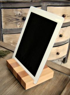 Wood iPad or Tablet Docking Station Stand in by andrewsreclaimed, $37.00