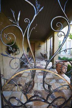 mediterranean exterior by Troy Rhone Garden Design Garden Design, House Design, Wrought Iron Fences, Entry Gates, Iron Work, Iron Gates, Garden Gates, Blacksmithing, Pergola