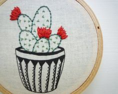 3 inch Hoop Art 'Cactus 7' Modern Embroidery by Cheese Before Bedtime