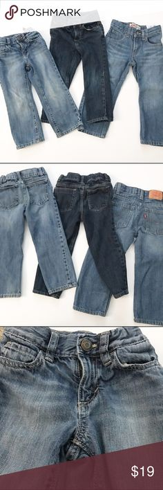 Bundle of 3 pairs of denim jeans 2 old navy and 1 Levi's. light pair of Old Navy light wash on the left is in play condition due to considerable wear on knees. Dark wash skinny fit  old navy has very slight wear on knees but overall very good condition, Levi's light wash relaxed for are in very good condition. All have adjustable waistbands Bottoms Jeans