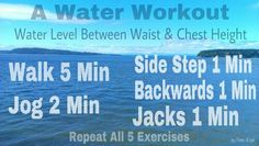A water workout, no swimming skills required. Water Aerobic Exercises, Swimming Pool Exercises, Pool Workout, Water Workouts, Water Aerobics Routine, Fitness Diet, Health Fitness, My Pool, Easy Workouts
