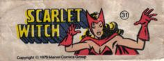 Scarlet Witch - Figurinhas da Marvel no chiclete - Anos 80