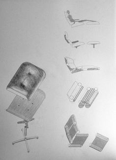 A hand drawing documentation of the Eames Lounge & Ottoman
