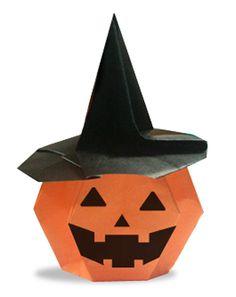 折り紙・かぼちゃのお化けの菓子入れ                                                                                                                                                                                 もっと見る
