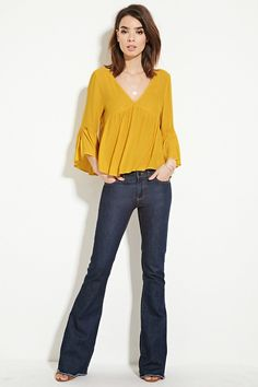 Forever 21 Contemporary - A woven chiffon blouse with a V-neckline, shirred front, self-tie V-cut back, and 3/4 trumpet sleeves with vented cuffs.