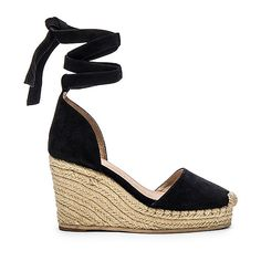 RAYE Dahlia Espadrille Wedge Shoes (606.335 COP) ❤ liked on Polyvore featuring shoes, sandals, heels, wedge sandals, heel platform shoes, wrap sandals, platform wedge sandals and rubber sole shoes