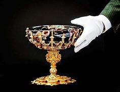 16th century Byzantine bowl atop a foot made from King Phillip II of Spain (Mary I's husband)'s gold