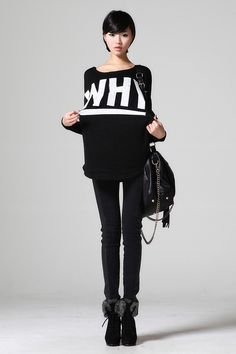 Korean fashion.. love black on black, I would wear different shoes but otherwise it's really cute :)