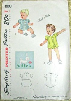 Vintage Pattern Simplicity 1803 Child Romper Onesie Playsuit with Embroidery Transfer 1940s 40s