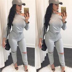 Fashion Sexy One Shoulder Slash Neck Jumpsuit Casual Loose Long Pants Slim Romper Drawstring Bodysuits