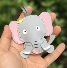Small size Hadrian the Elephant cowhide leather charm Grey