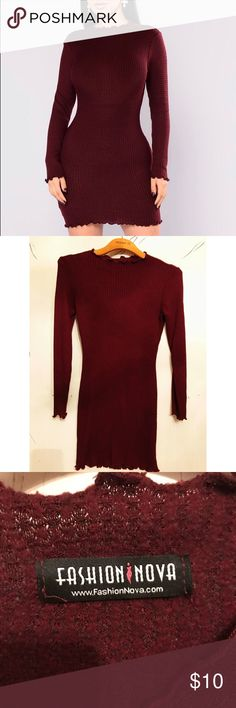 ✨SLAY THE DAY SWEATER DRESS✨ Slay the day fashionnova dress! Super cute and warm! *DETAILS* Brand: Fashionnova Style: sweater knit dress, short dress, body con Size: Small Color: burgundy  Condition: great, only wore twice Fashion Nova Dresses Mini