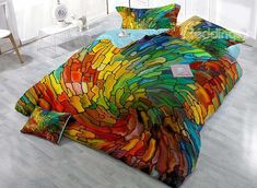 Colorful Vortex Digital Printing 4-Piece Duvet Cover Sets on sale, Buy Retail Price Luxury 3D Bedding Sets at Beddinginn.com