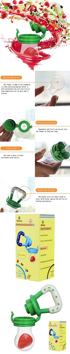 Biubee Baby Food Feeder-Silicone Teether Nibbler with Fresh Fruits Vegetable for Toddlers (L, green)