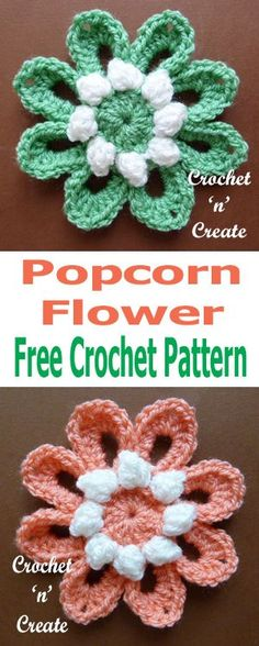 Crochet popcorn flower, a free crochet pattern, which can be added to any type of crochet project, use for headbands, mobile covers etc. #crochetncreate #crochetflower #crochetflowerpattern