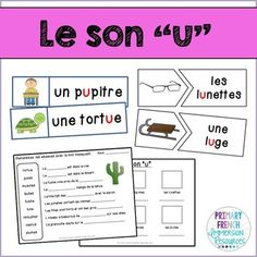 """Le son """"u"""" Includes: - Word wall header """"le son u"""" - 17 word wall cards with images - 3 word wall cards without images - 17 matching cards (centre) - large and small options - 13 centre cards (spell the word) with alphabet tiles - short silly story for"""