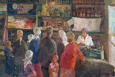 Стебаев А.А. — В деревенском магазине. Описание: 1965 г.