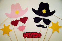 Photo Booth Props Deluxe Western Party Set 9 pc Cowboy Party Sheriff Wedding Photobooth Props Cowgirl Photo Props