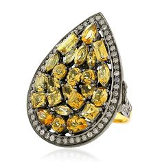 Yellow sapphire, diamond and gold mosaic ring.tobylynngems@aol.com