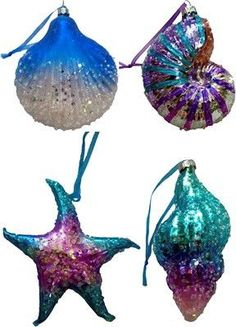 Blue Glass Shell Ornaments