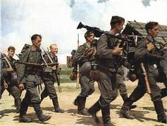 German infantry troops march along a dirt road, Soviet Union, 1941 or The image was originally published as 'Das Heer im Grossdeutschen Freiheitskampf' , a collection of 50 plus images taken by. Get premium, high resolution news photos at Getty Images German Soldiers Ww2, German Army, Mg34, Germany Ww2, Foto Real, German Uniforms, War Photography, Luftwaffe, War Machine
