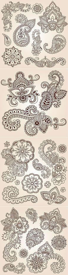 Paisley Clipart Colorful Bohemian Clip Art Hand Drawn