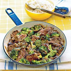 Orange Beef and Broccoli Stir-fry  1/4 cup low-sodium beef broth or water 1 tablespoon soy sauce 1 tablespoon lemon juice 2 teaspoons cornstarch 1 tablespoon vegetable oil 1 pound top round London broil, cut into strips 1 (10 oz.) package frozen broccoli spears, thawed and patted dry 1 tablespoon grated orange zest 1/4 cup fresh orange juice $ Salt and pepper