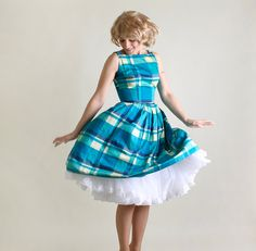 Vintage 1950s Dress - Plaid Dress with Button Shoulders - Small to Medium on Etsy, $86.21 AUD