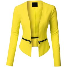 LE3NO Womens Long Sleeve Open Front Blazer Jacket with Detachable Hem ($34) ❤ liked on Polyvore featuring outerwear, jackets, blazers, lightweight jackets, cropped jacket, yellow crop jacket, yellow blazer and cropped blazer jacket