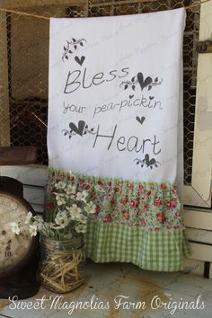"Flour Sack Kitchen Towel - Farmhouse Style Country Cottage Chic Ruffle Southern Saying ""Bless Your pea-pickin Heart""... Sweet Magnolias Farm"