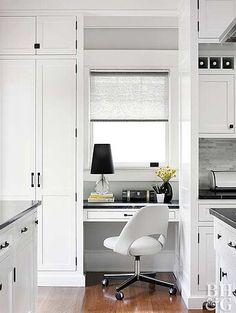 Kitchen Office Nook, Kitchen Desk Organization, Kitchen Desk Areas, Kitchen Work Station, Kitchen Desks, White Kitchen Cabinets, Home Office, Small Office, Kitchen Sink