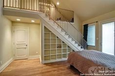 this is a cool idea for a master bedroom. having the closet upstairs