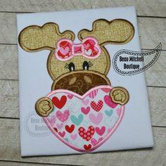 Valentine moose applique - Beau Mitchell Boutique