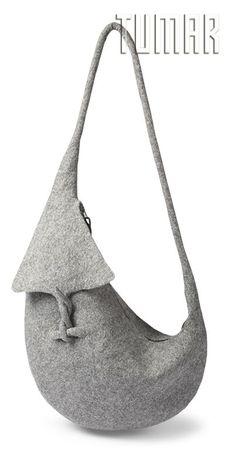 Bag.Felt - 100% wool. Handmade, solid-rolled. Technique - resist felting. Color: grey mélange. Catalogue: Going Wild, 2016. Tumar Art Group.: