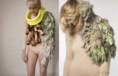 """""""A conceptual approach to considering new materials has led to the exploration of biotechnology, sustainability and synthetic biology; tactile propositions that include the use of fur, hair and hide, harking back to a more primal source while inspiring the fabrics of the future."""" (Denmark) Central Saint Martins College of Art & Design, England"""