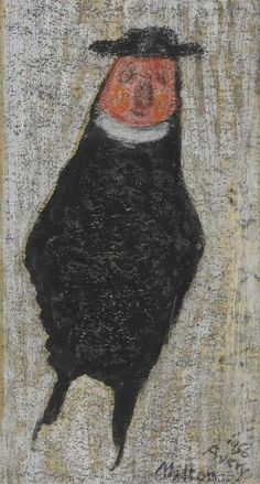 Milton Avery (1893-1965)  Priest  signed and dated 'Milton/Avery/1956' (lower right)  gouache, oil crayon and pencil on board  11 x 6 in. (27.9 x 15.2 cm.)