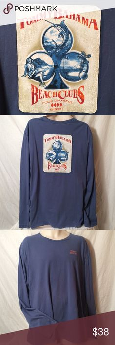 "TOMMY BAHAMA SHIRT FOUR DIAMOND RESORT LONG SLEEVE Tommy Bahama Relax Long sleeved t-shirt Size x-large Color is blue  On back says ""Tommy Bahama Beach Clubs four diamond resort"" Front has "" Tommy Bahama"" Measurements lying flat Shoulder seam to shoulder seam 22"" Armpit to end of sleeve 21"" From back top of shirt down is 30"" Tommy Bahama Shirts Tees - Long Sleeve"