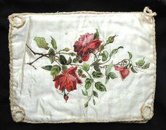 STUNNING VICTORIAN ERA ROSES HANDPAINTED UNDERWEAR HOLDER BAG .SIGNED. in Antiques, Art | eBay