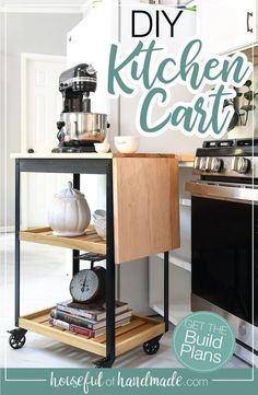 Add more workspace to your kitchen with this DIY kitchen cart. The rolling cart has a drop-down leaf for adding even more counter space when you need it. Build plans from Housefulofhandmade.com. #DIYCart #KitchenCart #BuildPlans
