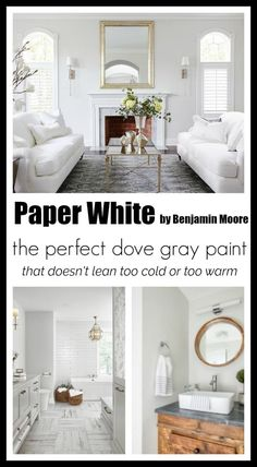 Paint Colors Paper White by Benjamin Moore is part of painting Walls White - Paper White by Benjamin Moore is the perfect light neutral gray It doesn't lean too cold or too warm, but instead has a soft creamy feeling about it Light Grey Paint Colors, Room Paint Colors, Interior Paint Colors, Paint Colors For Living Room, Paint Colors For Home, Neutral Paint, Gray Color, Light Gray Walls, White Walls