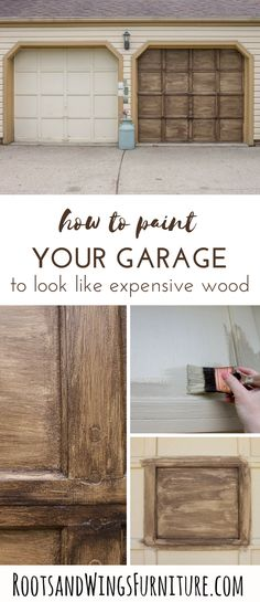 Learn how to paint your garage door to look like and expensi.- Learn how to paint your garage door to look like and expensive wood door. With j… Learn how to paint your garage door to look like and expensive wood door. Garage Door Paint, Wood Garage Doors, Garage Door Makeover, Garage Door Design, Wood Front Doors, Faux Wood Garage Door Diy, How To Paint Doors, Diy Wood, Garage Paint Colors
