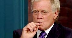 David Letterman trying and ecig- People Vaping, Electronic Cigarettes, Celebrities who made the switch.