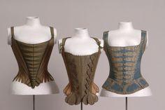 Three Corsets, 1770, German states, canvas, natural color; plain weave Lining: linen, natural, braids, cords: silk, leather, whalebone.  Germanischen Nationalmuseum Nürnberg | Objektkatalog