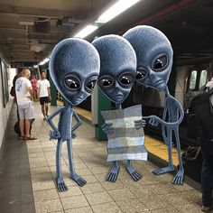 Subway Doodles By NYC Artist Ben Rubin Captures The Wonderfully Weirder Side Of The Subway Tracks - Nyc Subway, Subway Art, Doodle Monster, Monster Drawing, Cultura Pop, Invisible Creature, Alien Aesthetic, Graffiti, Aliens And Ufos